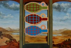 Linas Liandzbergis ''Trys limonai, trys karaliai'', 2011m.akrilas, drobė,  135x200cm