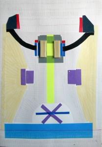 5. Technokūno prototipas. A Prototype of A Technobody. 2012. Paper, mix technique, 100x70 cm